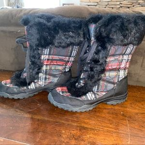 Coach lace up plaid winter boots with black fur